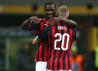 Cristian Zapata and Ignazio Abate celebrating during Milan-Bologna at Stadio San Siro on May 6, 2019. (@acmilan.com)