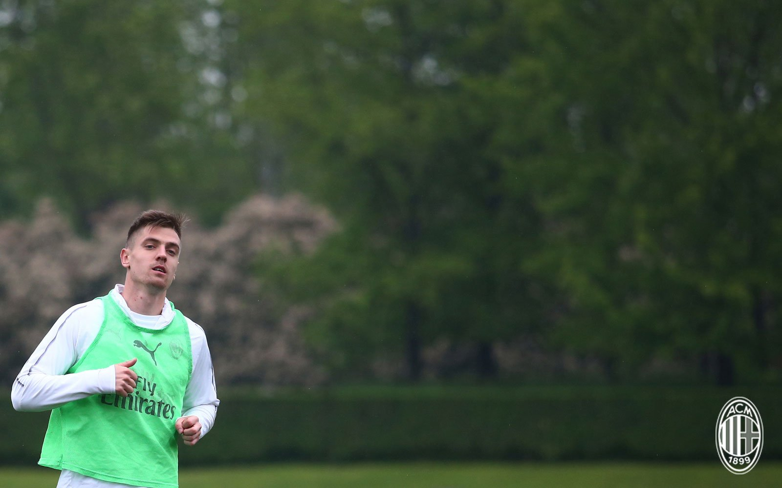 Krzysztof Piątek during training at Milanello. (@acmilan.com)