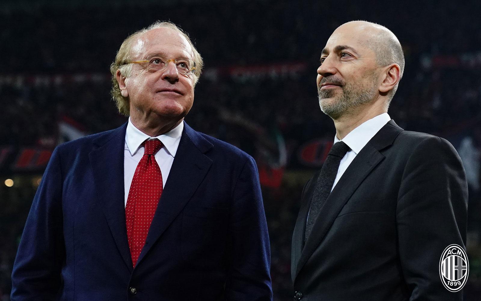 Paolo Scaroni and Ivan Gazdisi before Milan-Inter at Stadio San Siro on March 17, 2019. (@acmilan.com)