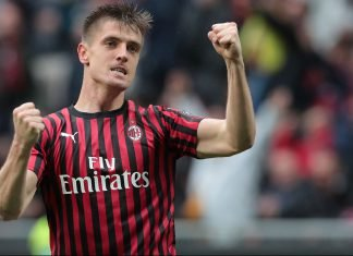 Krzysztof Piątek celebrating during Milan-Frosinone at Stadio San Siro on March 19, 2019. (Photo by Emilio Andreoli/Getty Images)