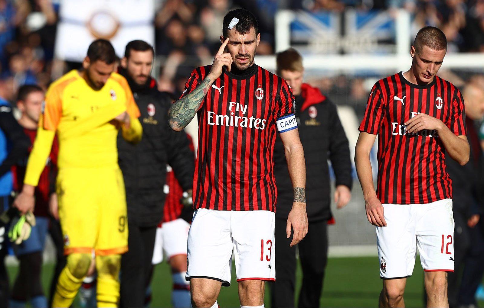 Alessio Romagnoli at the end of Atalanta-Milan at Stadio Atleti ...