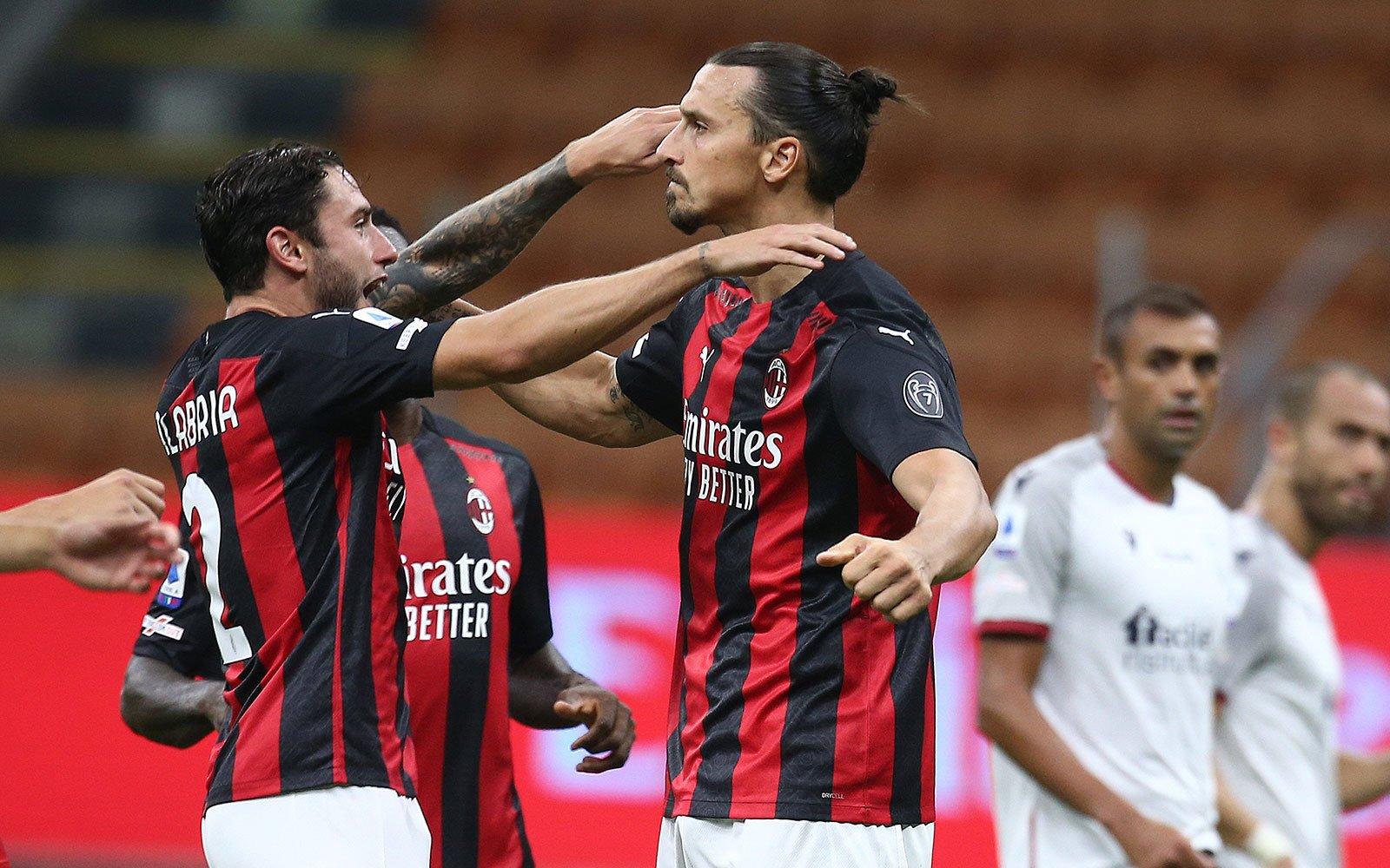 Davide Calabria and Zlatan Ibrahimović celebrating during Milan ...