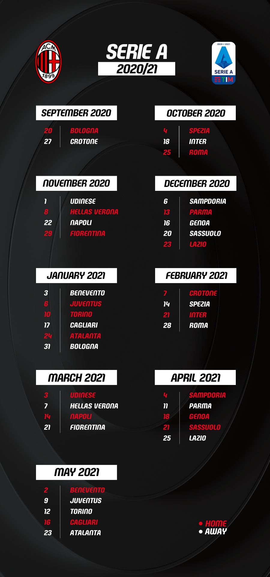 Serie A 2020/21 calendar: Milan start against Bologna, Crotone and